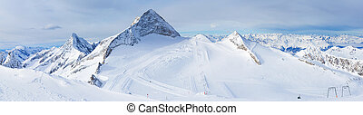 zillertal, glacier., hintertuxer, cluburlaub, österreich, ...