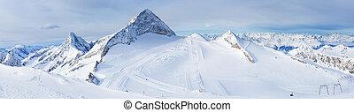 zillertal, glacier., hintertuxer, ricorso, austria, sci