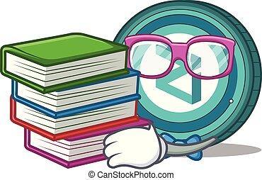 zilliqa, boek, student, munt, spotprent, mascotte