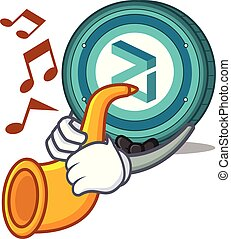 zilliqa, munt, trompet, spotprent, mascotte