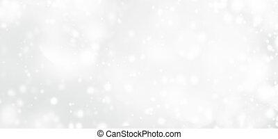 zilver, abstract, bokeh, achtergrond, met, sneeuwvlok, en,...