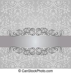 zilver, behang, en, swirls, spandoek