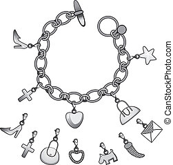 zilver, charmes, armband