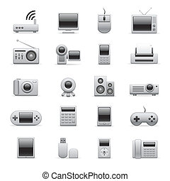 zilver, elektronisch, iconen