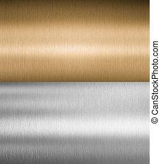 zilver, en, brons, metaal, texturen