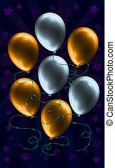 zilver, en, goud, balloon, achtergrond
