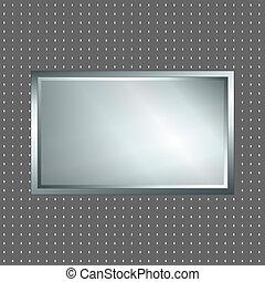 zilver, en, grijze , metalen, meldingsbord