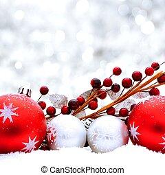 zilver, en, rood, de scène van kerstmis