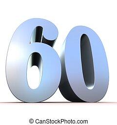zilver, getal, -, 60
