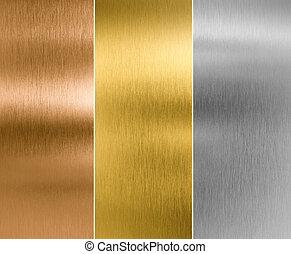 zilver, goud, en, brons, metaal, textuur, achtergronden