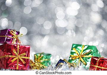 zilver, kerstmis, achtergrond, met, kadootjes