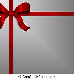 zilver, lint, rood, geschenk buiging