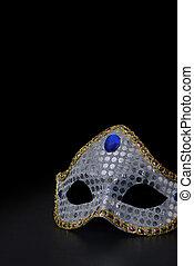 zilver, masker, op, black