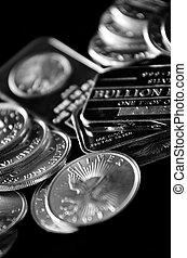 zilver, muntjes, en, staaf