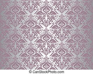 zilver, &, roze, behang, achtergrond