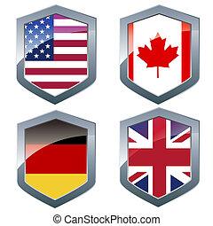 zilver, shileds, met, vlaggen