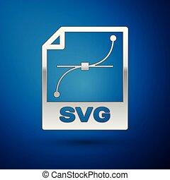 zilver, svg, bestand, document, icon., downloaden, svg, knoop, pictogram, vrijstaand, op, blauwe , achtergrond., svg, bestand, symbool., vector, illustratie