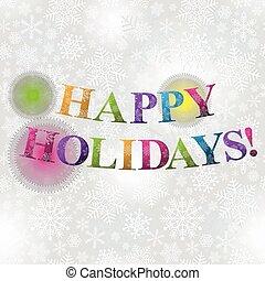 zilverachtig, kerstmis, snowflakes, kaart