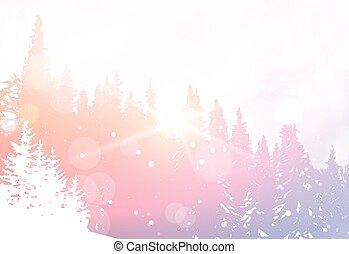 zima, śnieżny, drzewo, sosna, drewna, las, tło, krajobraz