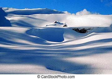 zima, śnieg, cele, tło