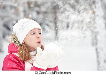 zima, śnieg, chód, ulica, mroźny, siła robocza, dziewczyna, sapie, szczęśliwy