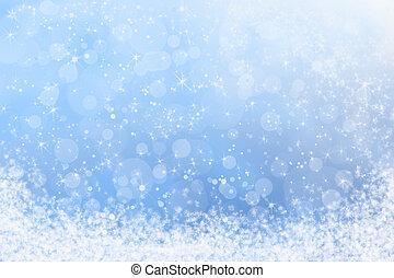 zima, błękitny, iskrowo, niebo, śnieg