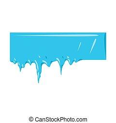 zima, banner., mrożony, sopel lodu, śnieg, zbiór, wektor