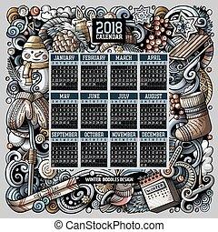 zima, barwny, pociągnięty, ręka, 2018, szablon, rok, doodles, kalendarz, rysunek