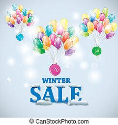 zima, barwny, sprzedaż, ilustracja, wektor, ballons