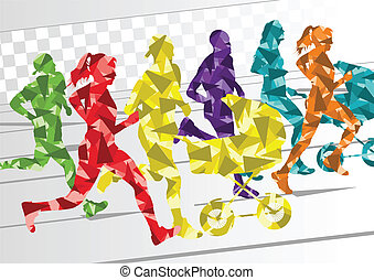 zima, barwny, sylwetka, biegacze, tło, maraton