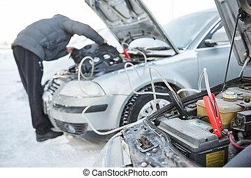 zima, bateria, samochód, pogoda, problem, warunki, ...
