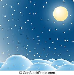 zima, boże narodzenie, krajobraz, w, noc