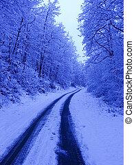 zima, cesta