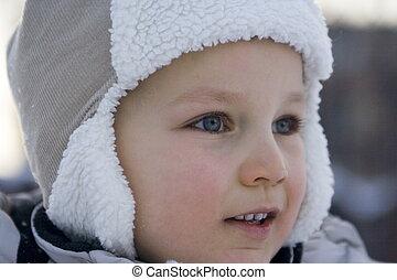 zima, chłopiec