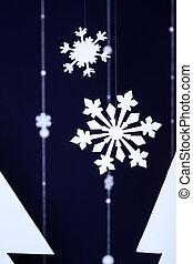 zima, ciemny lazur, tło, z, dekoracyjny, płatki śniegu