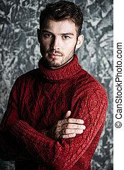 zima, ciepły, sweter