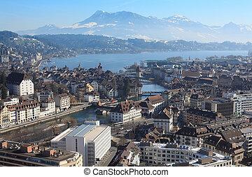 zima, cityscape, od, lucerna, szwajcaria