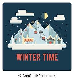 zima czas, uciekanie się, noc, narta, góry