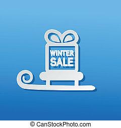 zima, dar, symbol, sprzedaż, wektor, sleigh, boże narodzenie