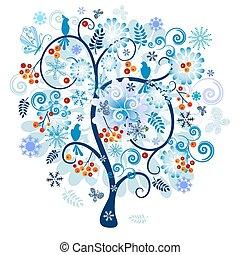 zima, dekoracyjny, drzewo