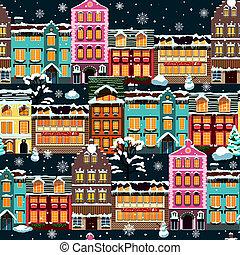 zima, domy, seamless, noc