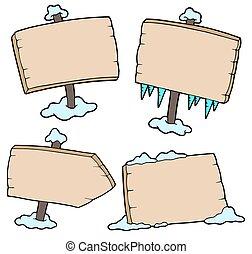 zima drewniana, znaki