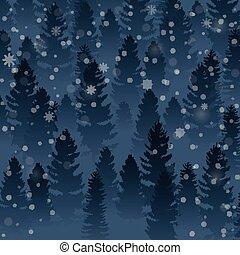 zima drzewo, sosna las, tło, powitanie, krajobraz