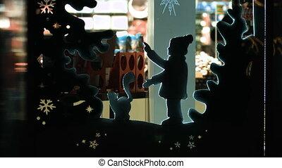 zima, figura, dzieci, kot, ozdoba, marionetka, mały, barwny...