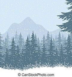 zima, górski krajobraz, z, drzewa jodły