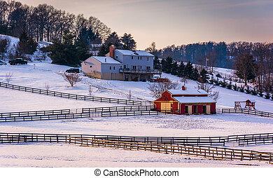 zima, gospodarczy dom, carroll, maryland., hrabstwo, wiejski, prospekt, stodoła