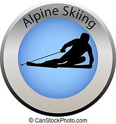 zima, guzik, alpejski, gra, narciarstwo
