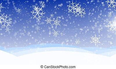 zima, hd, loop., upadek śniega