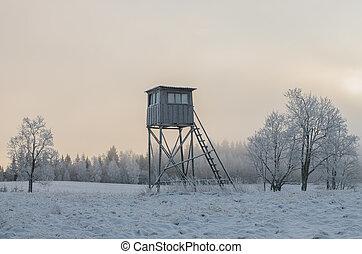 zima, honba, litevský, bojiště, věž, hrubý