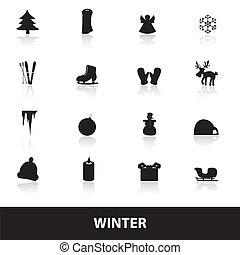 zima, ikona, eps10